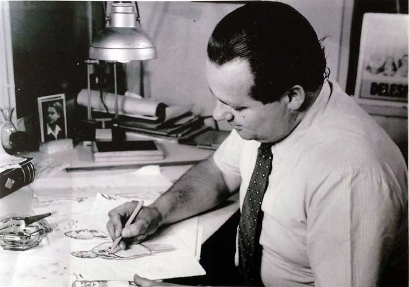 Joop Geesink sketches one of characters from a film (1952)