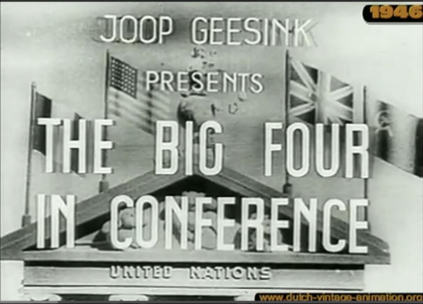 Titelkaart van The Big Four Confereert (1946)
